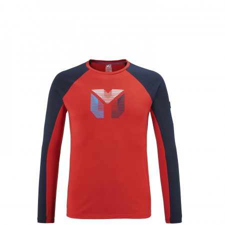 Tee-Shirts Millet Homme | TRILOGY PRISME WOOL TS LS M Rouge